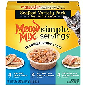 Meow Mix Simple Servings Wet Cat Food, Seafood Variety Pack, 1.3 Ounce Cup (Pack of 12)