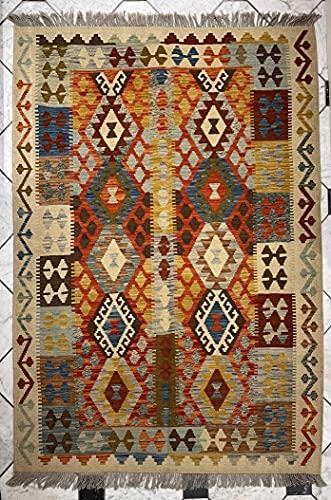 Alfombra oriental afgana, hecha a mano, de lana, colores naturales, estilo afgano, nómada turco, persa, tradicional, 135 x 176 cm, pasillo y escalera reversible