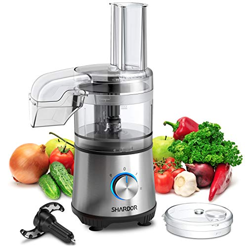 SHARDOR 2.1-Cup Food Processor Vegetable Chopper for Chopping, Pureeing, Mixing, Shredding and Slicing, 350 Watts with 2 Speeds Plus Pulse, Silver