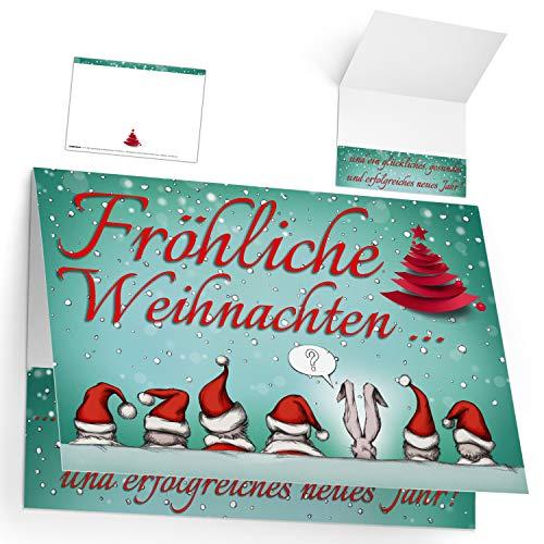 Weihnachtskarten Set (12 Stück) WEIHNACHTSMÜTZEN - lustige Klappkarten - ideal privat & geschäftlich - Frohe Weihnachten Karten von BREITENWERK