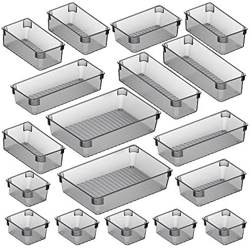 Puroma 18-pcs Desk Drawer Organizer Trays, 4 Different Sizes Large Capacity Plastic...