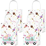 Party Favor Bags 16PCS for Ice Cream Gift Bags Goodie Bags Ice Cream Treat Candy Bags for Ice Cream Themed Kids Adults Birthday Party Supplies Decorations