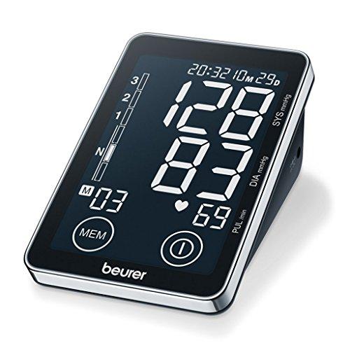 Beurer bloeddrukmeter voor de bovenarm BM58, met sensor-touchknoppen, verlicht XL-display, USB-interface
