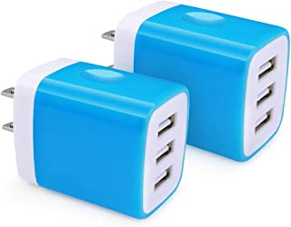 USB Charger Cube, Hootek 2-Pack 3.1A 3-Multi Port Home Charger Plug USB Wall Charger Adapter Charging Block Box Brick Compatible iPhone XR/XS/X/8/7 Plus, iPad, Samsung, LG, HTC, BlackBerry, Nokia