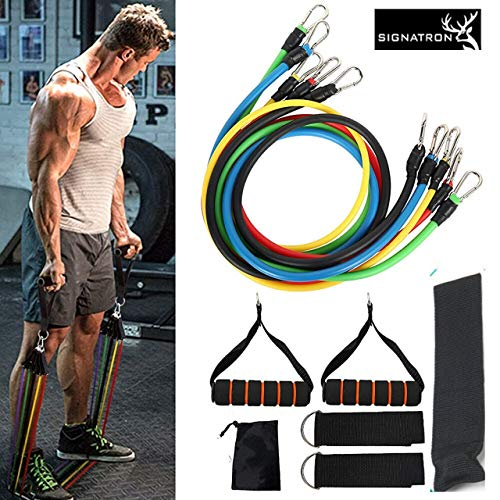 SIGNATRON 11pcs/Set Fitness Resistance Tube Band Yoga Gym Stretch Pull Rope Exercise Training Expander Door Anchor with Handle Ankle Strap