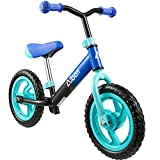 Albott Balance Bike 12' Toddler Training Bike for 18 Months, 2, 3, 4, 5 Year Old Kids Lightweight Contrast Color No Pedal Bicycle with Adjustable Seat and Airless Tire (Blue)