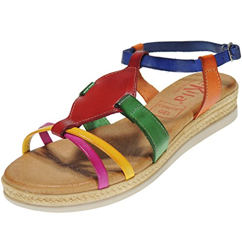 TEKILA 2024 Sandalia Piel Vaquetilla Llana con Planta Comfort Gel para Mujer Multicolor Talla 40