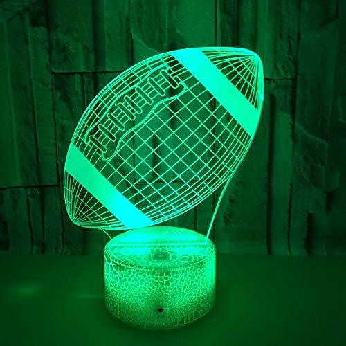 Rugby Bunte 3D LED USB Schreibtisch Lampe Touch Remote Bunte 3D Nachtlicht Milla Jovovich