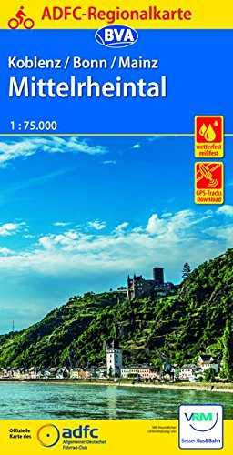 ADFC-Regionalkarte Koblenz/Bonn/Mainz Mittelrheintal 1:75.000, reiß- und wetterfest, mit GPS-Tracks-Download (ADFC-Regionalkarte 1:75000)