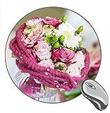 Not Applicable Bouquet Fleurs Vase Rose Daisy Imprimer Tapis de Souris de Bureau Rond Gaming Rubber Mouse Pad