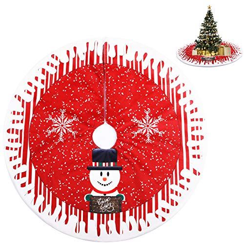 KATELUO Weihnachtsbaumdecke Rund, Filz Weihnachtsbaum Rock, Weihnachtsbaum Schürze, Weihnachtsbaum Teppich Rund mit Schneeflocke, Santa Design (Rot, 80cm)