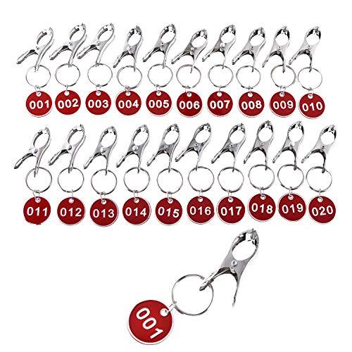 MITUKE ドア番号タグ クローク ロッカー 番号札 キーラベルタグ キーホルダ (赤)【クリップ付き/1-20】