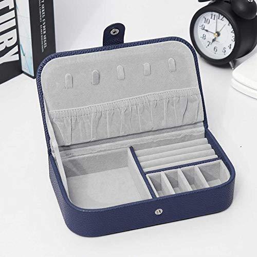 KDABJD Diseño Minimalista Organizador de Joyas Exhibición Estuche de Viaje Cajas Joyero portátil Botón Almacenamiento de Cuero Cremallera Regalo