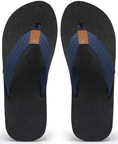 Chanclas para Hombre tamaño 8.5, Zapatos de Playa de Verano, tapete de Yoga liviano de Goma Antideslizante, Sandalias de baño Suaves y cómodas, Azul Marino