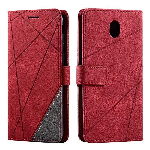 Hülle für Samsung Galaxy J7 2017, SONWO Premium Leder PU Handyhülle Flip Hülle Wallet Silikon Bumper Schutzhülle Klapphülle für Galaxy J7 2017, Rot