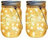 Solar Mason Jar illumina 2 Pack 20 LED della stringa del giardino appendere le luci impermeabili Interni Esterni Luci decorative for la festa di Natale Cortile(Esclusa bottiglia) -luce calda
