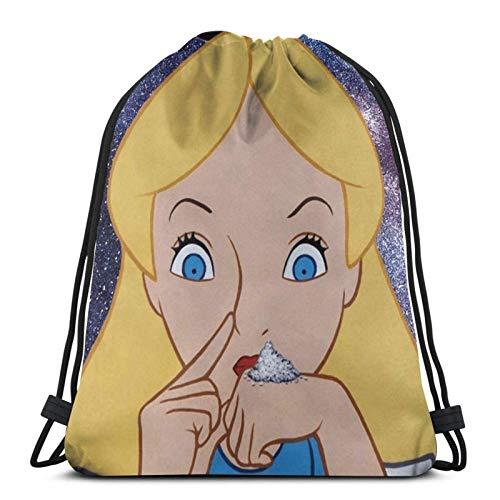 XCNGG Drawstring Bag Alice Going To Wonderland Tapestry Training Gymsack