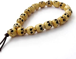 OVALBUY Ox Bone Buddhist Carved Skull Beads Mala Bracelet for Meditation