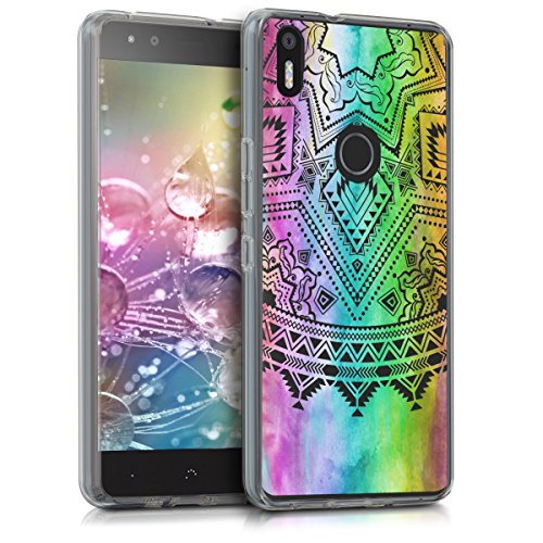 kwmobile bq Aquaris X5 Plus Hülle - Handyhülle für bq Aquaris X5 Plus - Handy Case in Sonne Aztec Design Mehrfarbig Pink Transparent