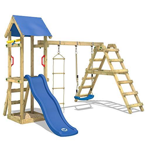 WICKEY Parque infantil de madera TinyLoft con columpio y tobogán azul, Torre de escalada da exterior con escalera de cuerda y arenero para niños