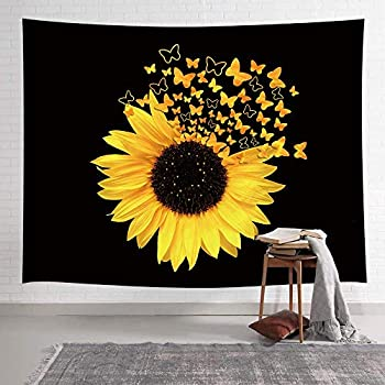 NYMB Sunflowers Tapestry Sunflowers Butterfly Blooming Wild Flower Tapestry Spring Rustic Plants Tapestry Wall Hanging for Bedroom Living Room Dorm Farmhouse TV Background 60X40IN Black and Yellow