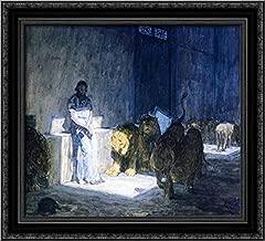 Daniel in The Lions' Den 22x20 Black Ornate Wood Framed Canvas Art by Henry Ossawa Tanner
