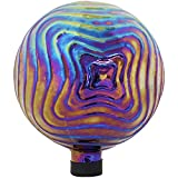 Sunnydaze Blue, Purple and Gold Rippled Texture Outdoor Gazing Globe Glass Garden Ball Decor - Outdoor, Patio, Lawn and Backyard Sphere Ornament Decoration - 10-Inch