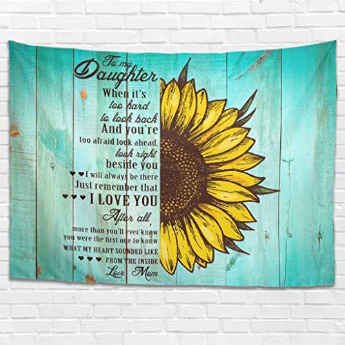 Dofeely to My Daughter Sunflower Love Tapijt, wandtapijt, wandtapijt, wandtapijt, wanddecoratie voor woonkamer, slaapkamer decoratie