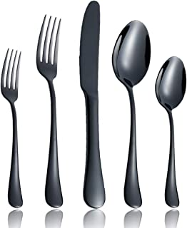 20-Piece Flatware Silverware Set Service for 4 Stainless Steel Cutlery Include Knife Fork Spoon Dishwasher Safe (Black) Bl...