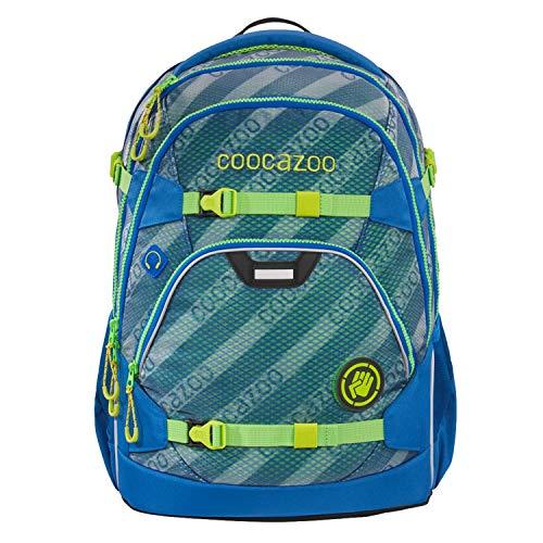 coocazoo Schulrucksack ScaleRale MeshFlash Neonyellow blau-grün, ergonomischer Tornister, höhenverstellbar mit Brustgurt und Hüftgurt für Jungen ab der 5. Klasse, 30 Liter