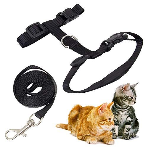 XYDZ Katzengeschirr mit Leine Verstellbare Geschirre Katzenleine Kätzchenhalsband Ausbruchsichere Katzenweste für Kleine Katzen (Schwarz)