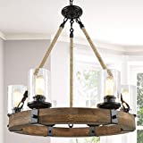 Farmhouse Chandelier for Dining Rooms, 6-Light Wagon Wheel Chandelier, Hemp Rope Wood Chandelier with Seeded Glass Shade, 25'' Dia