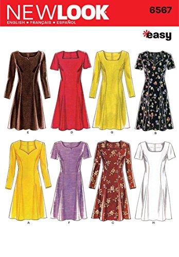 New Look 6567Größe A Schnittmuster für Damenkleider, Mehrfarbig