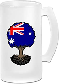 Tree Of Life With Australia Flag Frosted Glass Stein Beer Mug - Personalized Custom Pub Mug - 16 Oz Beverage Mug - Gift For Your Favorite Beer Drinker