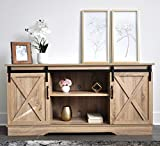 Rainbow Sophia Farmhouse Sliding Barn Door TV Stand for TVs up to 65', Home Living Room Entertainment Center, Wood Storage Cabinet with Doors and Shelve, Natural