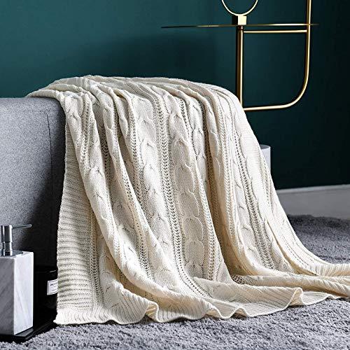 Vangao Decke Elfenbein Leichte Zopfmusterpullover Stil ganzjährig Geschenk Indoor Outdoor Travel Akzent Werfen für Sofa Tröster Couch Bett Liege Wohnzimmer Schlafzimmer Dekor 127cm*152cm