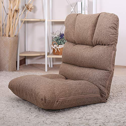 WAYTRIM Indoor Adjustable Floor Chair 5-Position Folding Padded Kids Gaming Sofa Chair, Perfect for Meditation, Reading, TV Watching, Camel