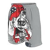 JOSENI Hombres Personalizado Trajes de Baño,Retrato de un Perro Basset Hound en Gorra roja con cámara en Gris,Casual Ropa de Playa Pantalones Cortos