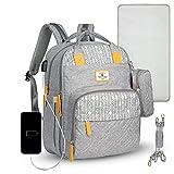 ComfyDegree Baby Wickelrucksack Wickeltasche, Multifunktionale Wasserdichte Babytasche für Mama und Papa, Oxford Windelrucksack mit USB-Ladeanschluss, Kinderwagengurte, Wärmetaschen Reisetasche(grey)