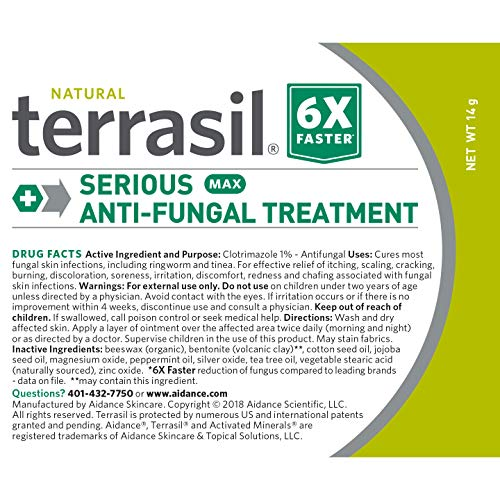 Terrasil Anti-fungal Treatment Max 14gm - 6X Faster Healing, Natural Soothing Clotrimazole OTC- Registered Ointment for Fungal Infections Jock Itch, Male Yeast