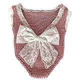 iSpchen Baby Fotografie Kleidung Neugeborenen Fotografie Requisiten Junge Mädchen Foto Manuelle Wolle Spitze Kostüme Outfits Strampler Set Geburtstagsgeschenk Haut Pink