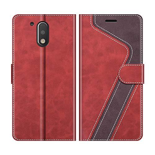 MOBESV Handyhülle für Motorola Moto G4 Hülle Leder, Motorola Moto G4 Klapphülle Handytasche Hülle für Motorola Moto G4 / Moto G4 Plus Handy Hüllen, Rot