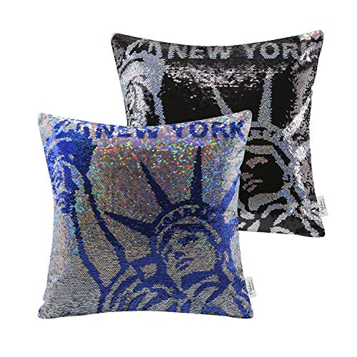 Ashler Set of 2 Throw Pillow Case New York Magic Reversible Sequins Decorative Cushion Cover Pillowcase for Couch Sofa Bed 18 x 18 inch 45 x 45 cm