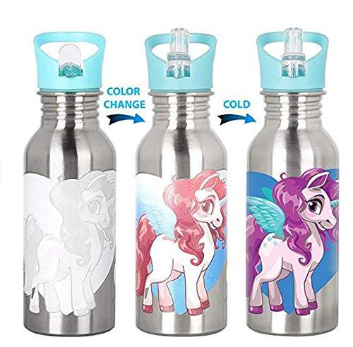 Botella mágica de acero inoxidable para niños, con tapa de pajita y tapa deportiva, a prueba de fugas, sin BPA
