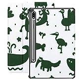 Funda Galaxy Tablet S7 Plus de 12,4 Pulgadas 2020 con Soporte para bolígrafo S, Siluetas de Diferentes Animales de Dibujos Animados Vector Funda Protectora Delgada sin Costuras con Soporte para Samsu