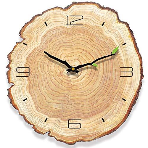 HyFanStr Reloj de Pared Vintage, Reloj de Pared Madera Silencioso, Relojes de Pared Grandes para Cocina Dormitorio 28x30cm
