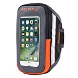 Fitletic Phone Armband for Running Hiking Exercise Wallet with Zipper Water Resistant iPhone and Galaxy Compatible Gray & Orange S/M - Forte