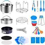 MONYES 21 Pcs Pressure Cooker Accessories Compatible with 5,6,8 Qt Instant Pot, Steamer Basket Kitchen Tong Plate Gripper Egg Beater Springform Pan Egg Steamer Rack(Blue)
