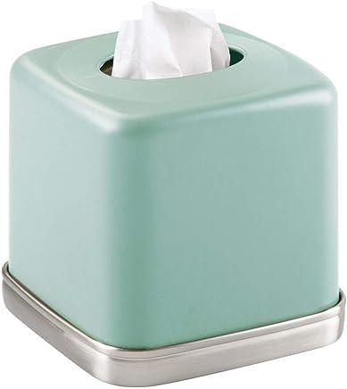 joli rev/êtement pour boite mouchoir standard argent/é mat distributeur de mouchoir pratique pour salle de bain ou bureau mDesign bo/îte /à mouchoirs en m/étal