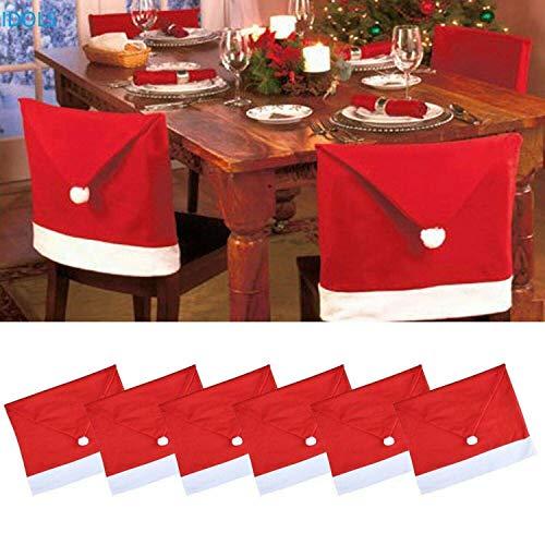 joyfuntech 6er Set Stuhlhussen für Weihnachten Weihnachtsmann Mütze Deko Stuhlbezug Nikolaus Weihnachtsdeko